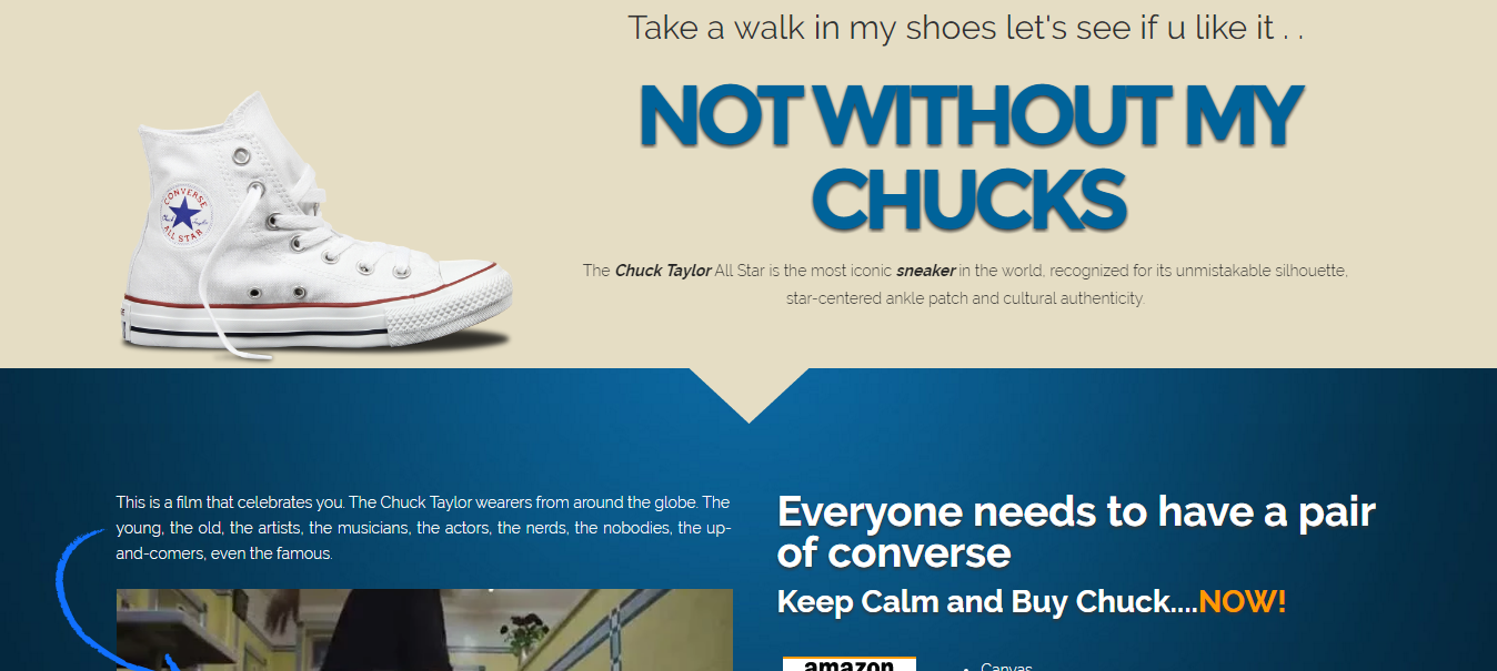 Converse Chuck Taylor Landing Page