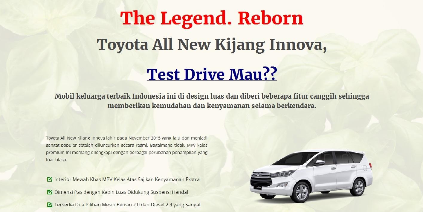 All New Toyota Kijang Innova Landing Page